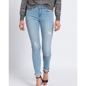 Noisy May Distressed Light Wash Denim Skinny Jeans